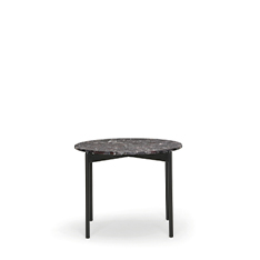 Drawing inspiration from the concepts of elegance and sophistication, the Blume coffee tables featuring the seating's flower-shaped profile, which protrudes visibly beyond the perimeter of the top. Available in three heights with extruded aluminium frame and round Ø 490 mm marble, composite marble or solid laminate top. The Blume tables may be combined to create different compositions.
