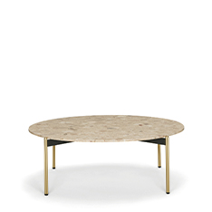 Drawing inspiration from the concepts of elegance and sophistication, the Blume coffee tables featuring the seating's flower-shaped profile, which protrudes visibly beyond the perimeter of the top. Available in three heights with extruded aluminium frame and round Ø 890 mm marble, composite marble or solid laminate top. The Blume tables may be combined to create different compositions.
